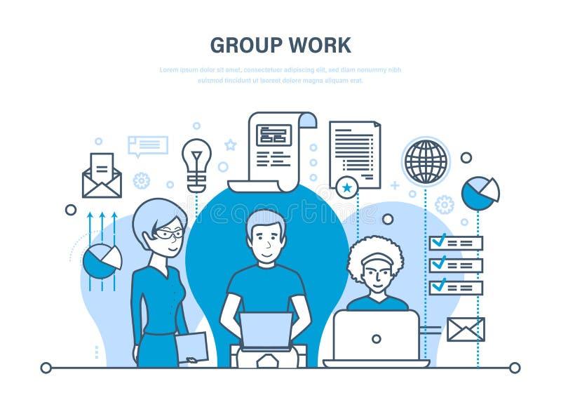 Het groepswerk, mensen in bureau, groepswerk, partners, collega, uitwisseling van ideeën, samenwerking vector illustratie