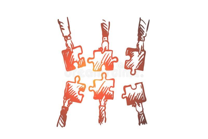 Het groepswerk, team, mensen, verenigt concept Hand getrokken geïsoleerde vector royalty-vrije illustratie