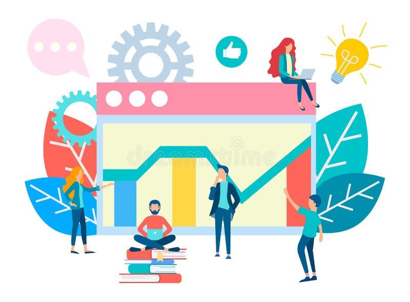 Het Groepswerk van het bureauleven bij het concept van de Bedrijfsweboptimalisering royalty-vrije illustratie