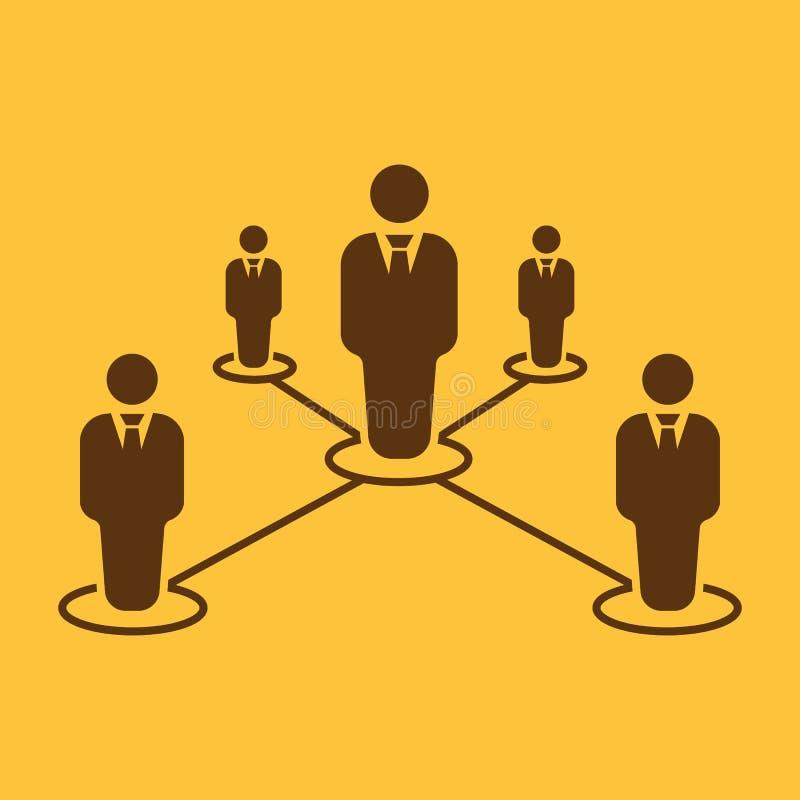 Het groepswerkpictogram Leiding en verbinding, commercieel teamssymbool vlak royalty-vrije illustratie