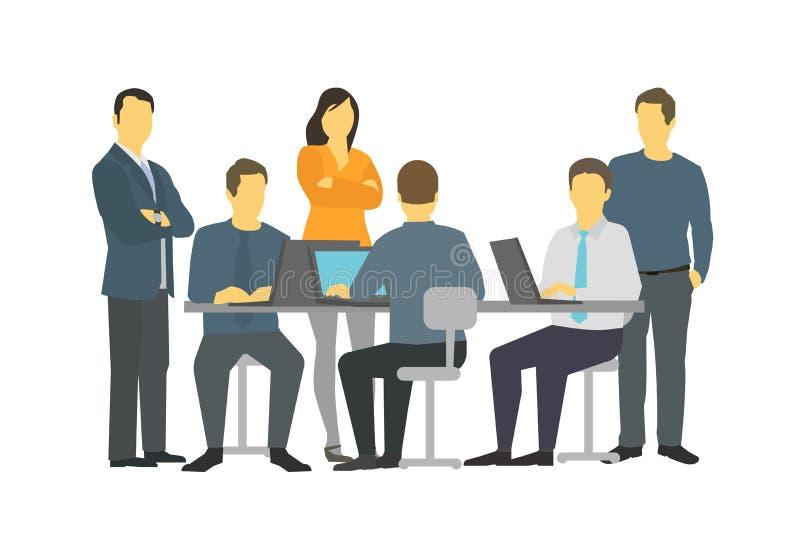 Het groepswerkvergadering zes personen van het bedrijfsmensenbureau het spreken stock illustratie