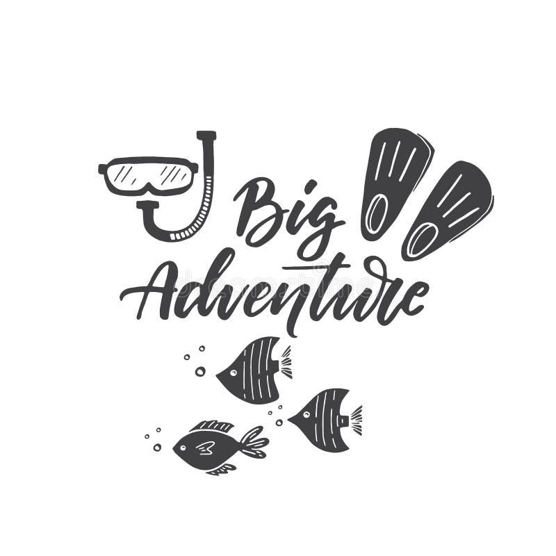 Het groot Avontuur van letters voorzien, masker en vinnen, vissen clipart royalty-vrije illustratie