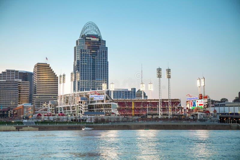 Het grote Amerikaanse stadion van de Marge in Cincinnati stock afbeelding