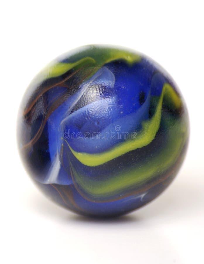 Het grote Blauwe en Gele Marmer van het Glas stock fotografie