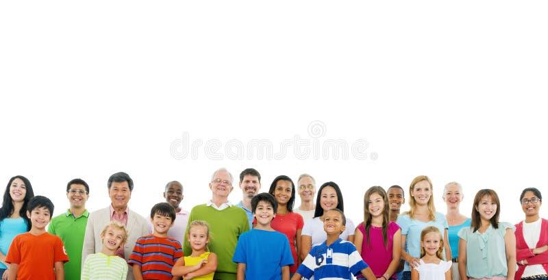 Het grote Concept van de de Eenheidssteun van Menigte Communautaire Mensen stock afbeelding