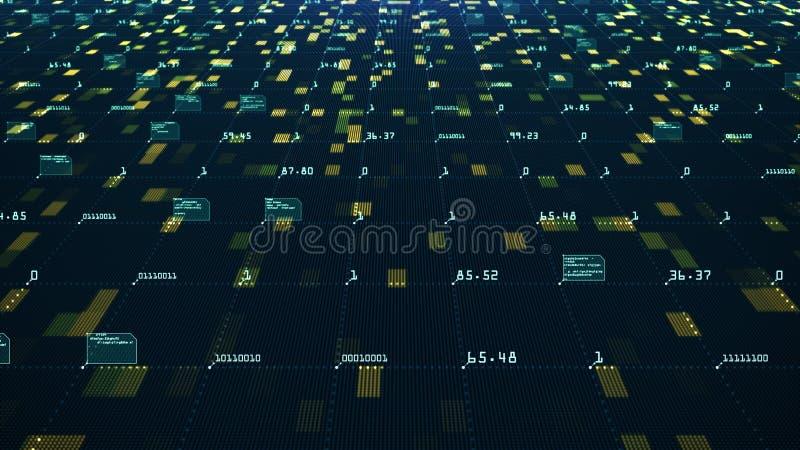 Het grote Concept van de Gegevensvisualisatie Machine het leren algoritmen Analyse van informatie Technologiegegevens en binaire  royalty-vrije illustratie