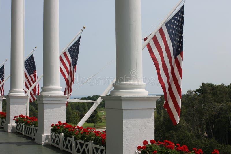 Het grote Eiland van Hotelmackinac - de Vlag van de V.S. royalty-vrije stock afbeeldingen