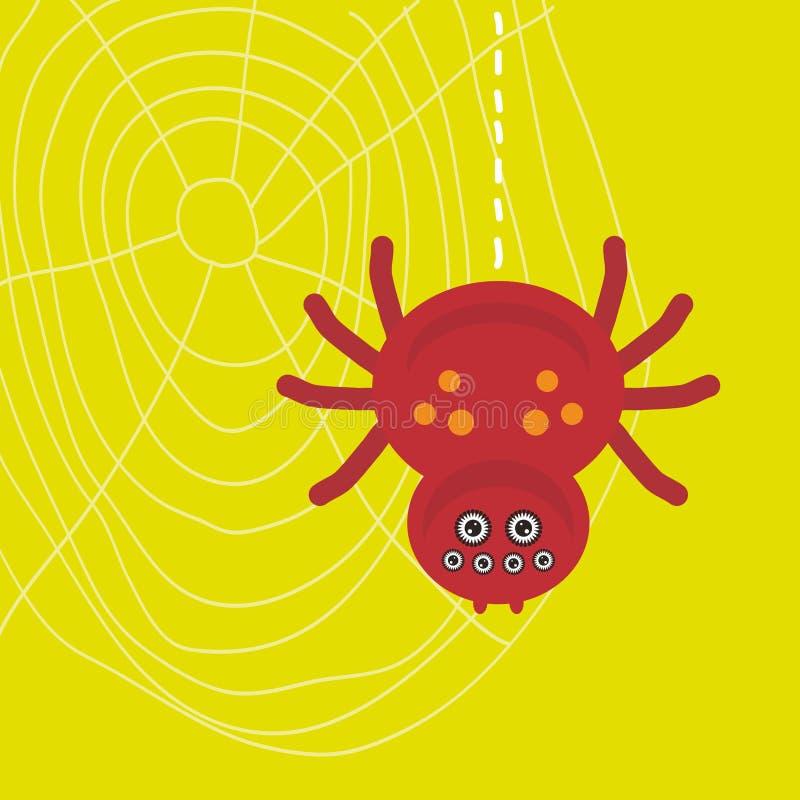 Het grote enge bruine spin hangen op zijn Web op groene achtergrond Vector vector illustratie