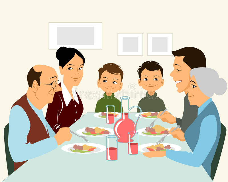 Het grote familie eten stock afbeeldingen