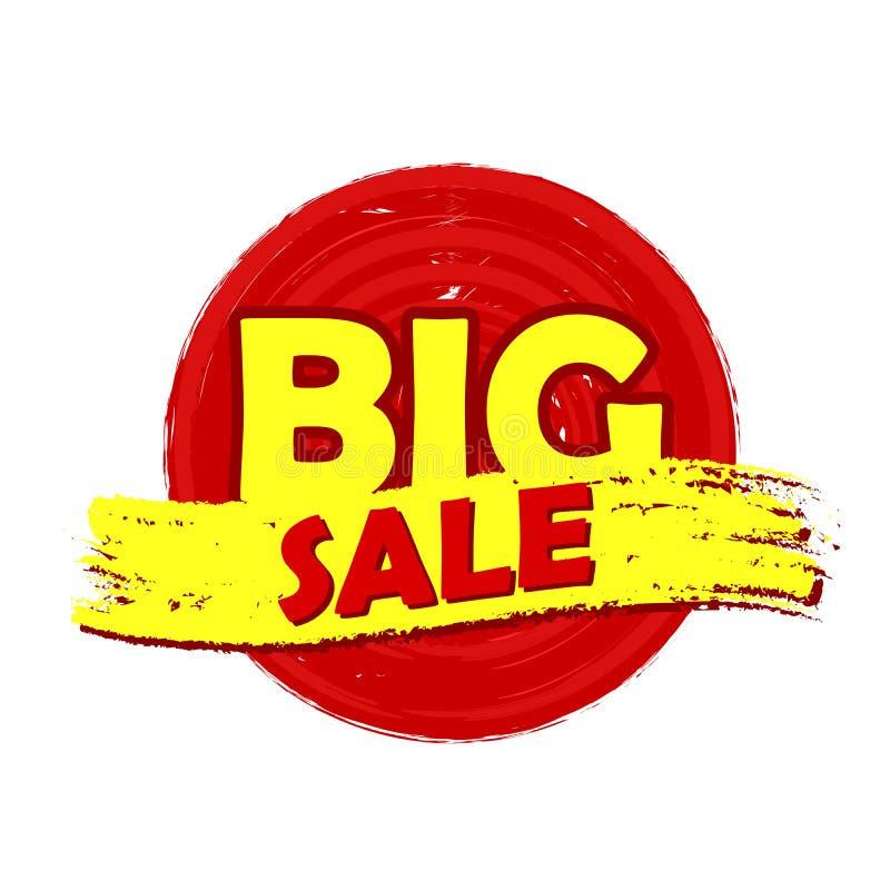 Het grote getrokken etiket van de verkoopronde royalty-vrije illustratie