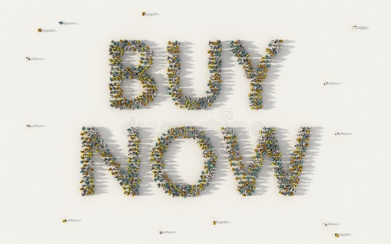 Het grote groep mensen vormen zich koopt nu van letters voorziende teksten in sociale media en communautair concept op witte acht stock illustratie