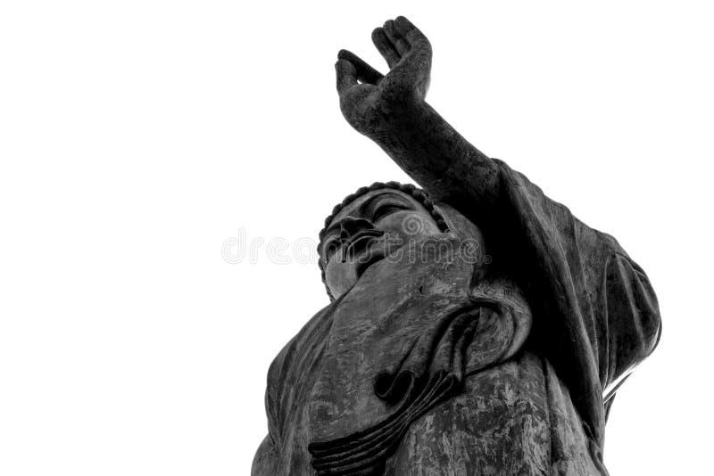 Het grote grote standbeeld van Boedha met de o.k. zwarte van de de bodemmening van het handteken en royalty-vrije stock fotografie
