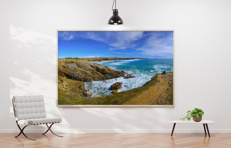 Het grote horizontale kader hangen op het witte muur 3D teruggeven vector illustratie