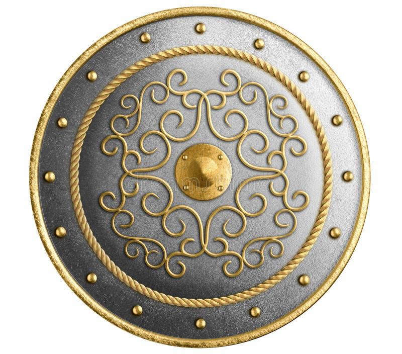 Het grote metaal om schild verfraaid goud isoleerde 3d illustratie royalty-vrije stock afbeelding