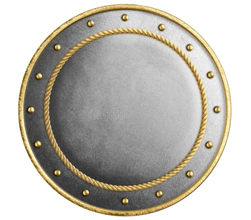 Het grote metaal om schild verfraaid goud isoleerde 3d illustratie stock foto's
