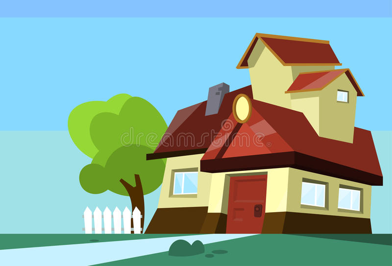 Het grote Moderne Landgoed van de Huiswoonplaats met Tuin stock illustratie
