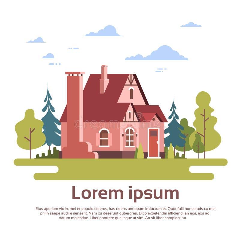 Het grote Moderne Landgoed van de Huiswoonplaats met Tuin royalty-vrije illustratie