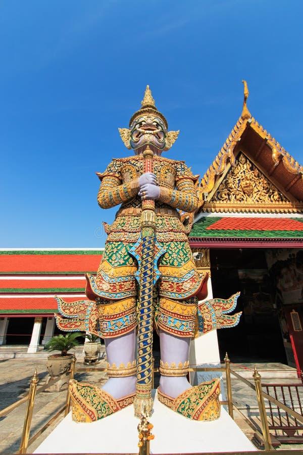 Het Grote Paleis Bangkok van Wat Phra Kaew van de Beschermer van de demon stock afbeelding