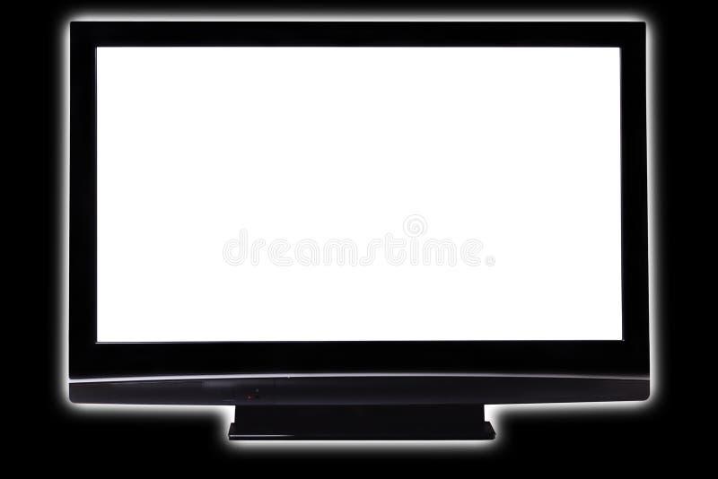 Het grote pasmaHDTV witte scherm op zwarte stock afbeelding