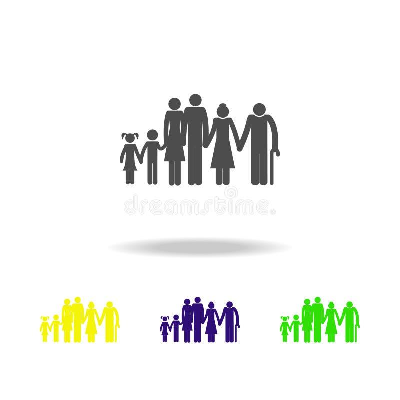 het grote pictogram van de familie multikleur Het element van reispictogram voor mobiel concept en Web apps, kan voor Web worden  vector illustratie