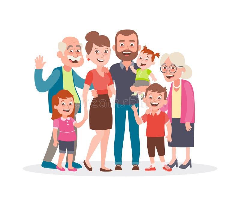 Het grote Portret van de Familie Vader, moeder, drie jonge geitjes en twee grootouders stock illustratie