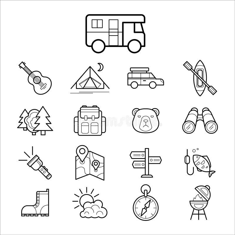 Het grote reeks lineaire pictogram kamperen en toerismevector royalty-vrije illustratie