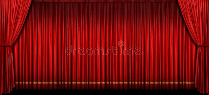 Het grote Rode Gordijn van het Stadium royalty-vrije stock afbeeldingen