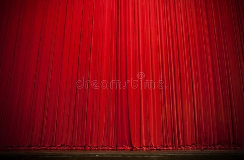 Het grote Rode Gordijn van het Stadium stock foto