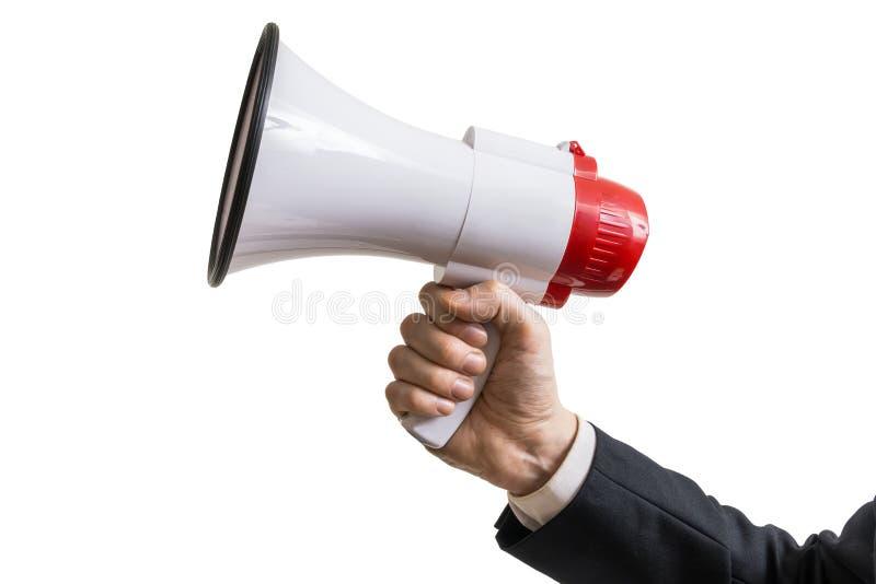 Het grote rood dobbelt met vragen De hand houdt megafoon Geïsoleerdj op witte achtergrond stock fotografie