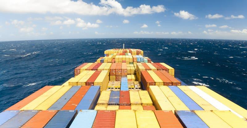 Het grote schip van het containerschip en de horizon royalty-vrije stock afbeelding
