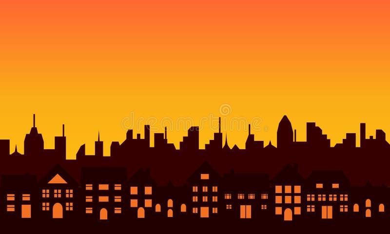 Het grote silhouet van de stadshorizon royalty-vrije illustratie