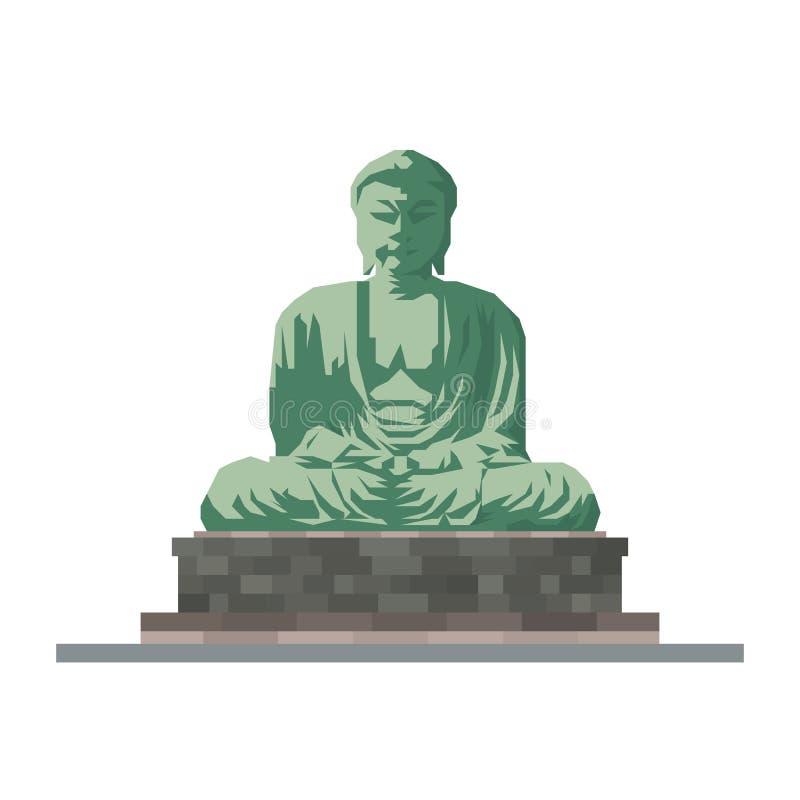 Het grote standbeeld van Boedha van Kamakura, Japan, vlak ontwerp vectorpictogram royalty-vrije illustratie