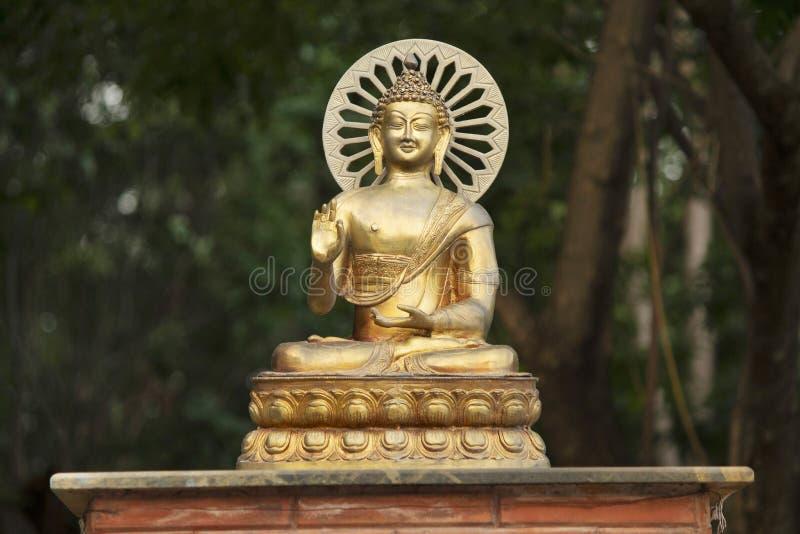 Het grote Standbeeld van Sakyamuni Gautama Buddha van het Bronsmessing in Boedha holt 6 uit stock fotografie