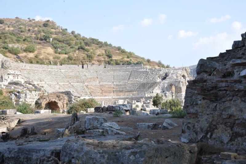 Het Grote Theater van de oude stad van Ephesus stock afbeelding