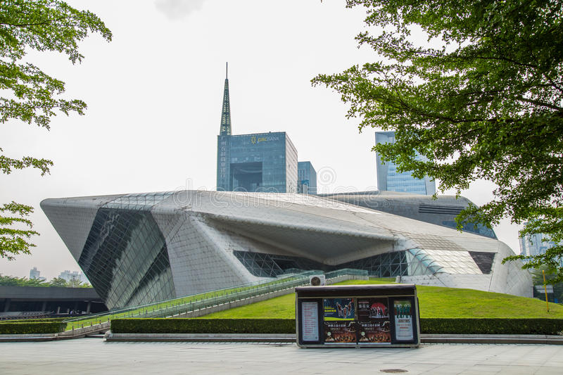 Het grote theater van Guangzhou van het Guangzhouoriëntatiepunt Het blauwe gebied van het glasgordijn, een unieke verschijning va royalty-vrije stock afbeelding