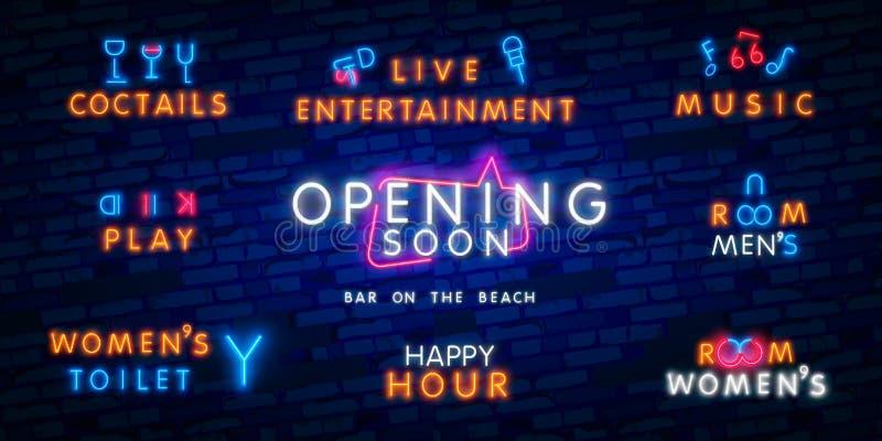 Het grote vastgestelde teken van het neon die spoedig neon komen Lichtgevend uithangbord met uithangbord Nacht heldere reclame Ve stock afbeeldingen