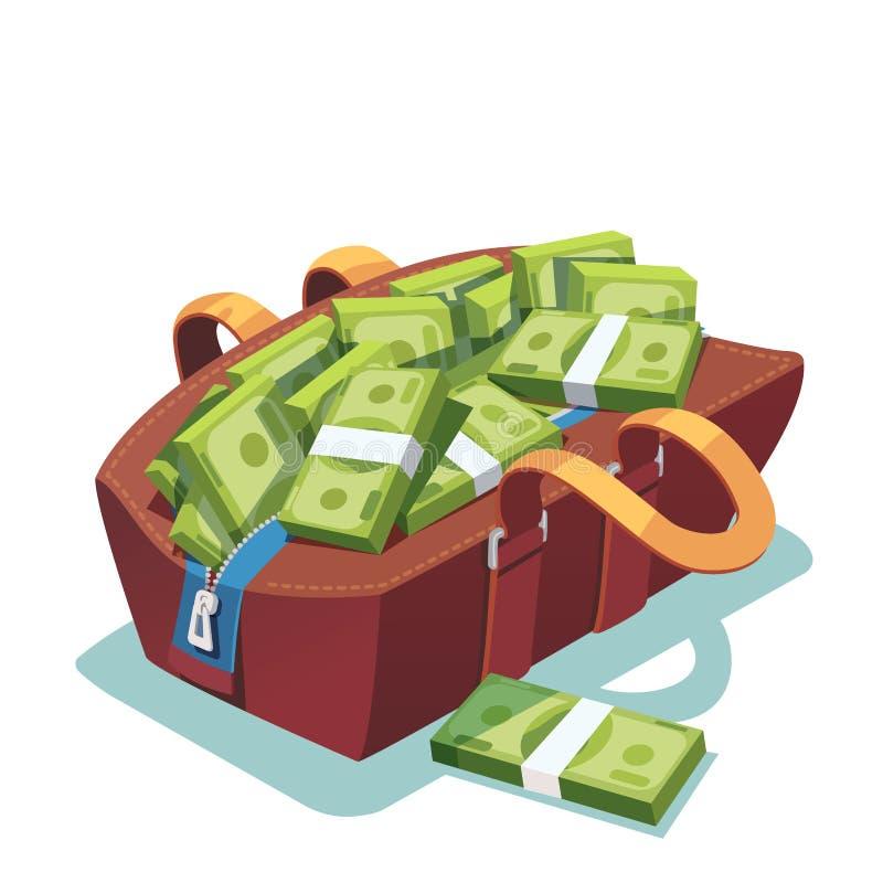Het grote vet geopende hoogtepunt van de leerzak van contant geldgeld vector illustratie