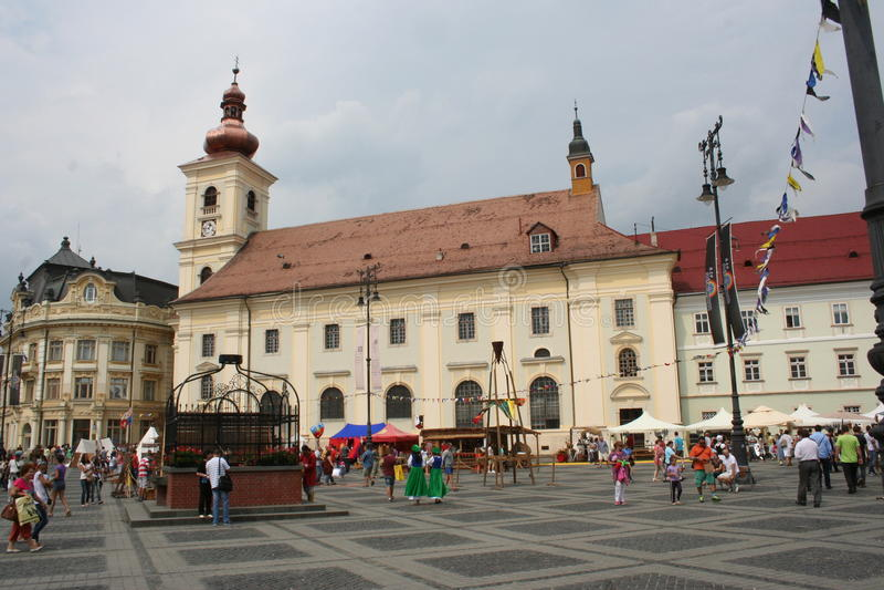 Het Grote Vierkant (Piata Mare), Sibiu stock foto's