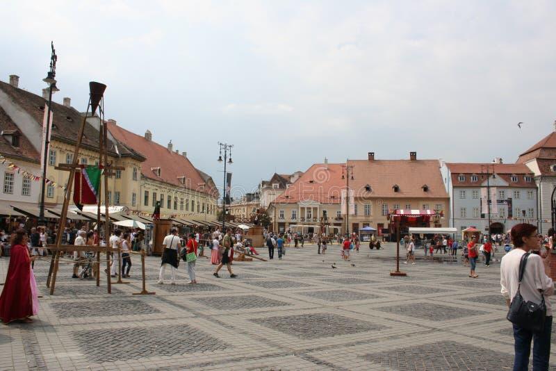 Het Grote Vierkant (Piata Mare), Sibiu royalty-vrije stock afbeeldingen