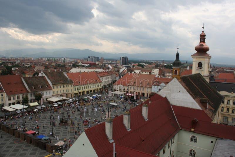 Het Grote Vierkant (Piata Mare), Sibiu stock afbeeldingen