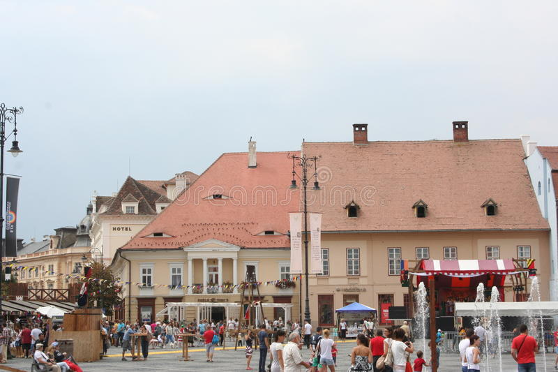 Het Grote Vierkant (Piata Mare), Sibiu royalty-vrije stock afbeelding