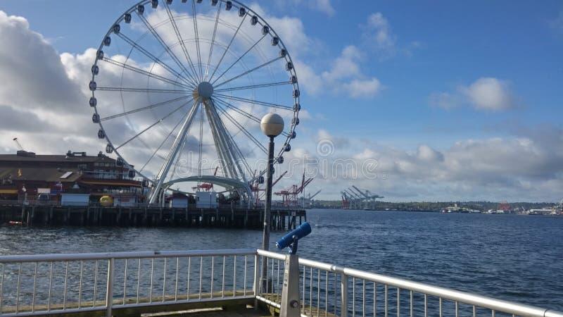 Het grote wiel van Seattle stock afbeelding