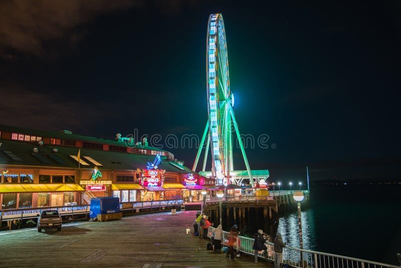 Het Grote Wiel van Seattle bij nacht royalty-vrije stock foto