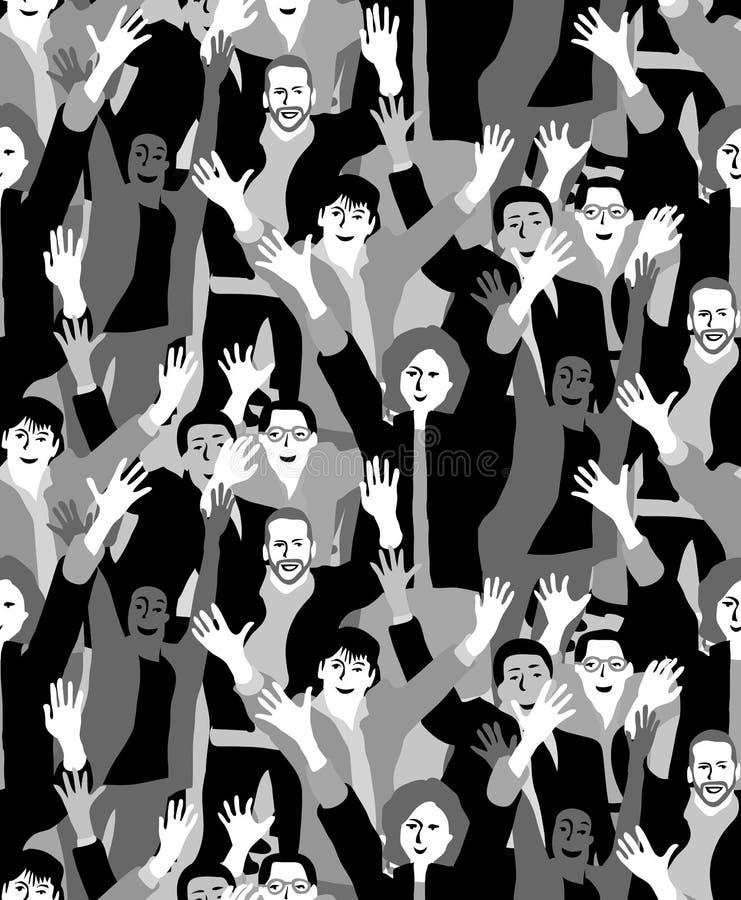 Het grote zwart-witte naadloze patroon van menigte gelukkige mensen royalty-vrije illustratie