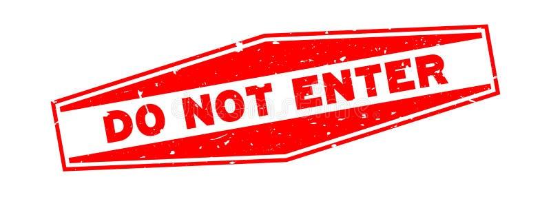 Het Grungerood gaat woord geen hexagon rubberzegel op witte achtergrond in vector illustratie