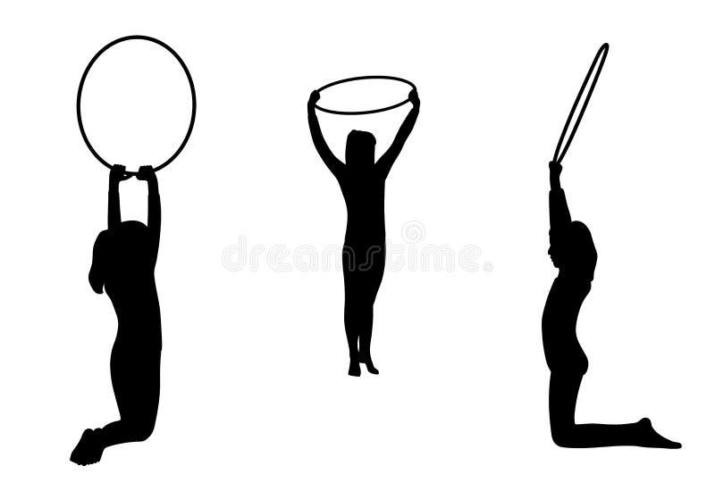 Het gymnastiek- meisjesteam presteert met hoepels royalty-vrije illustratie