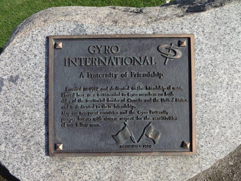 Het Gyroscoop Internationale monument, het Park van de Vredesboog stock afbeeldingen