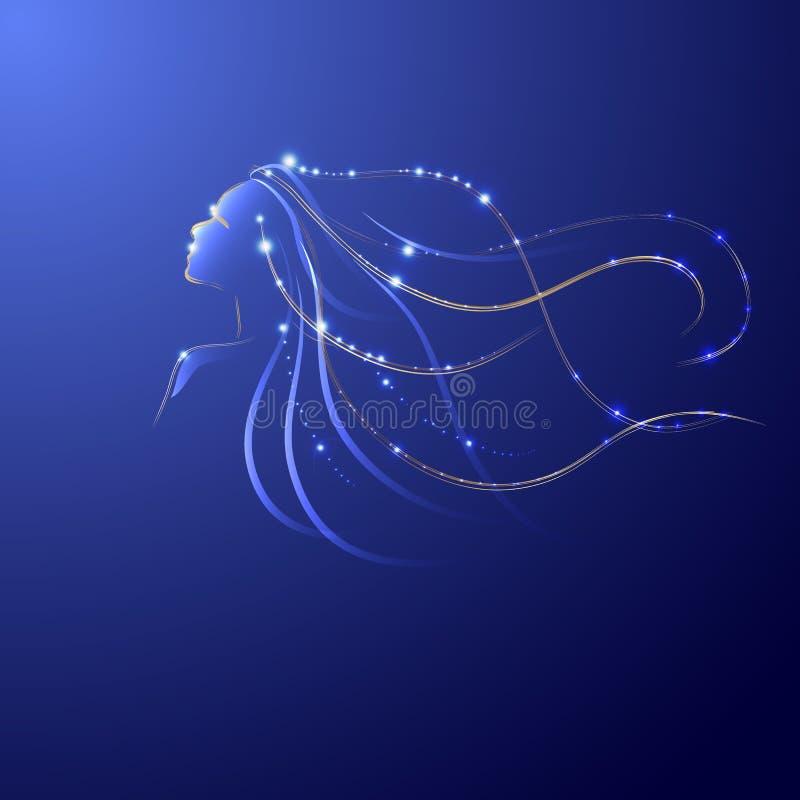 Het haar lichte lijn van het profielmeisje, vector illustratie