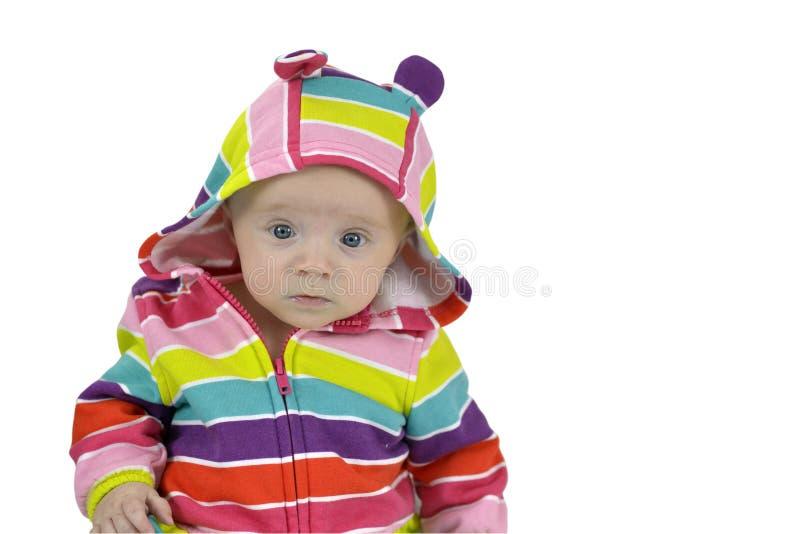 Het halfjaarlijkse portret van het babymeisje stock afbeelding