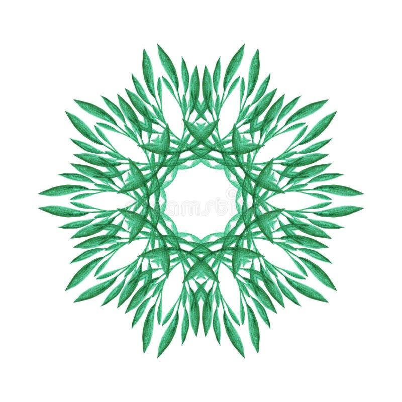 Het hand geschilderde element van het waterverf grafische ontwerp Abstract kruidenpatroon in cirkel Mandala van groene bladeren vector illustratie